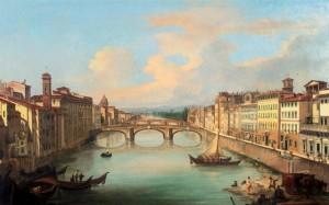 G. Signorini Veduta dell'Arno da Ponte Vecchio