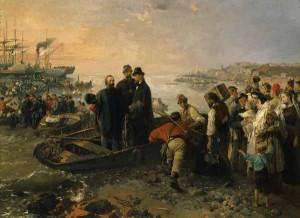 G. Induno L'imbarco a Genova del generale Giuseppe Garibaldi