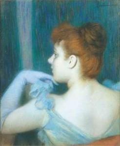 F. Zandomeneghi Fanciulla in azzurro di spalle